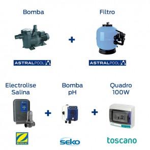 Pack Piscina 500, Bomba, Filtro, Electrolise, pH & Quadro