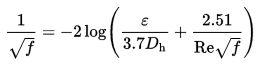 equação Colebrook