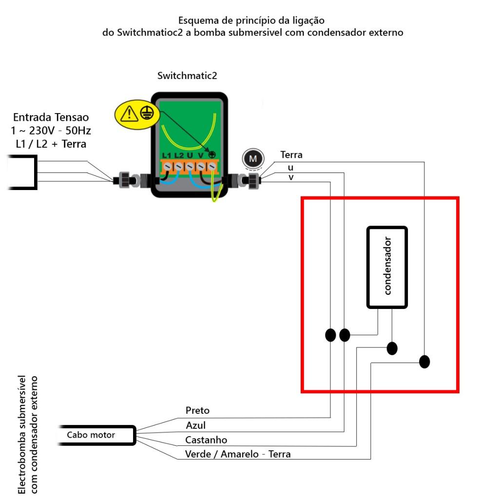 Esquema ligação Switchmatic2 e bomba submersível com condensador externo